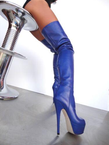Leather Blu Peep Couture 37 Stiefel Overknee Stivali Boots Cq Blue Platform Toe n8PnHv