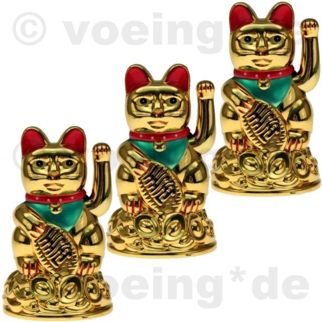 3x Winkende Katze Winke-Katze Winkekatze Glücksbringer Glückssymbol 11cm Gold