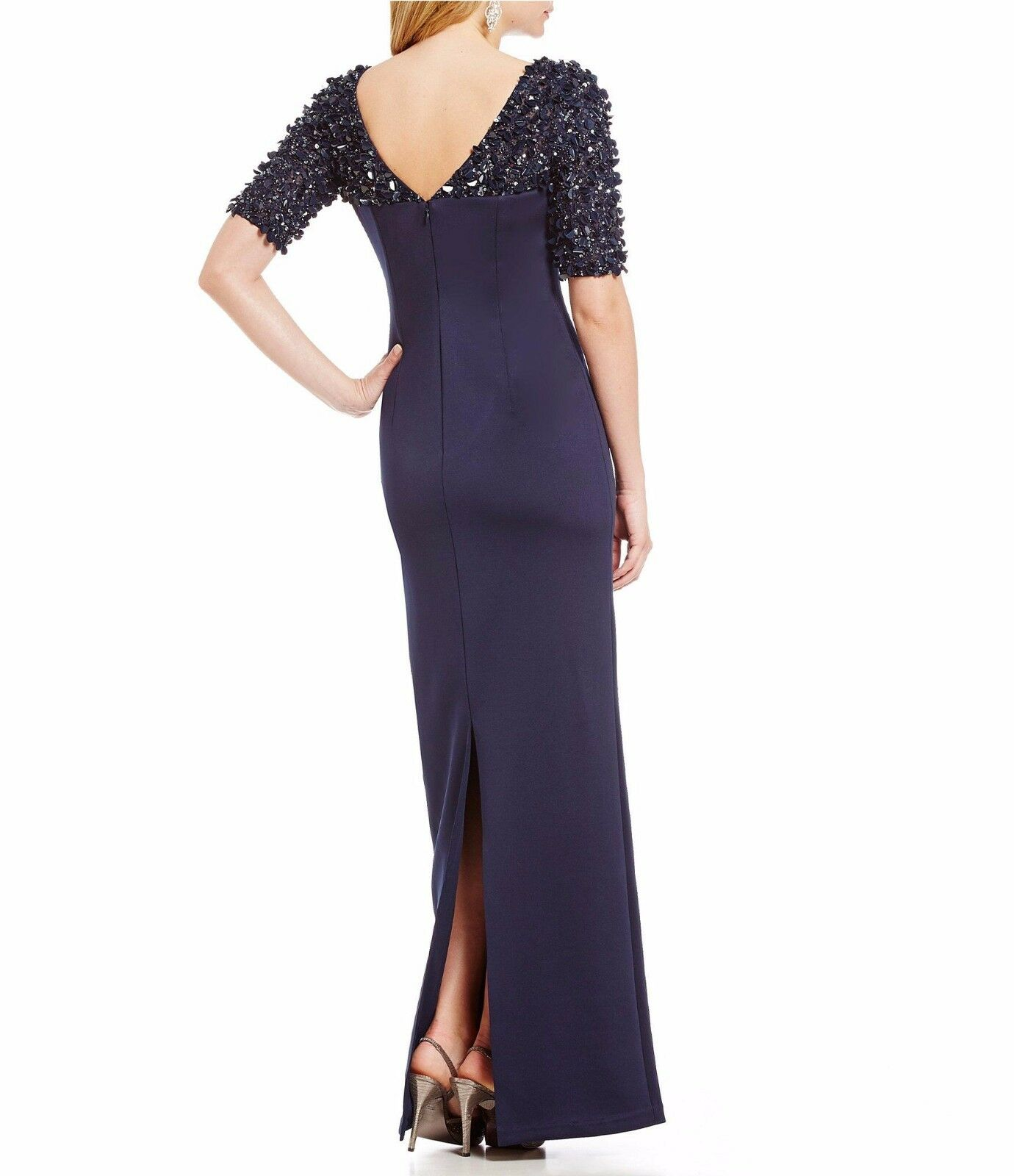 Adrianna Papell Navy Blue Beaded Stretch Column Gown Sequin Sleeve ...