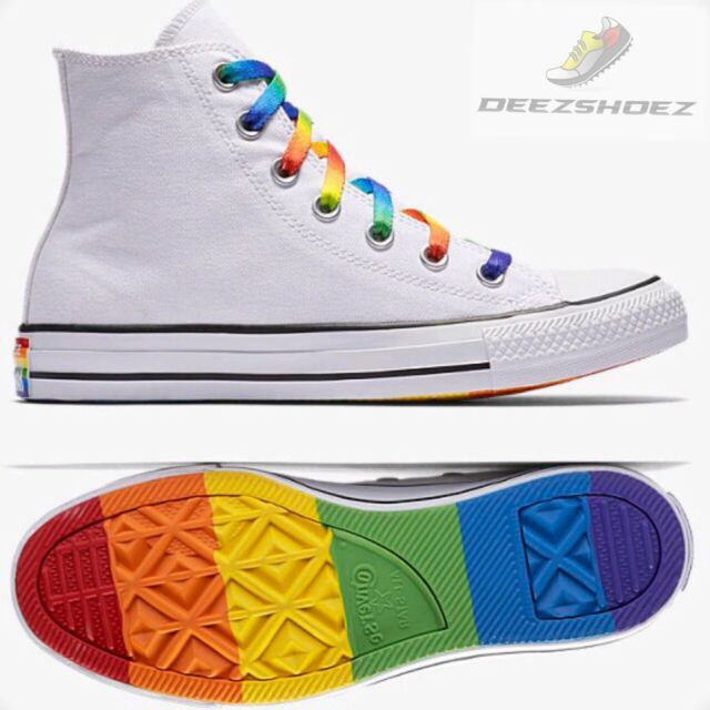 e21c10d75098 Converse Chuck Taylor All Star Hi White Pride LGBT Colored laces Free  Shipping