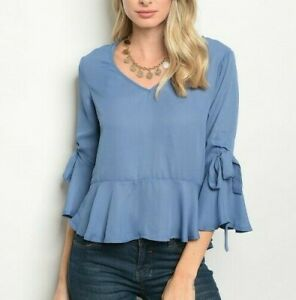 Women-039-s-Boutique-Blue-Bell-3-4-Sleeve-Peplum-Blouse-Small-amp-Large-Career-Work