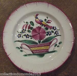 Ancienne-Assiette-Faience-les-ISLETTES-decor-floral-et-oiseaux-19-eme