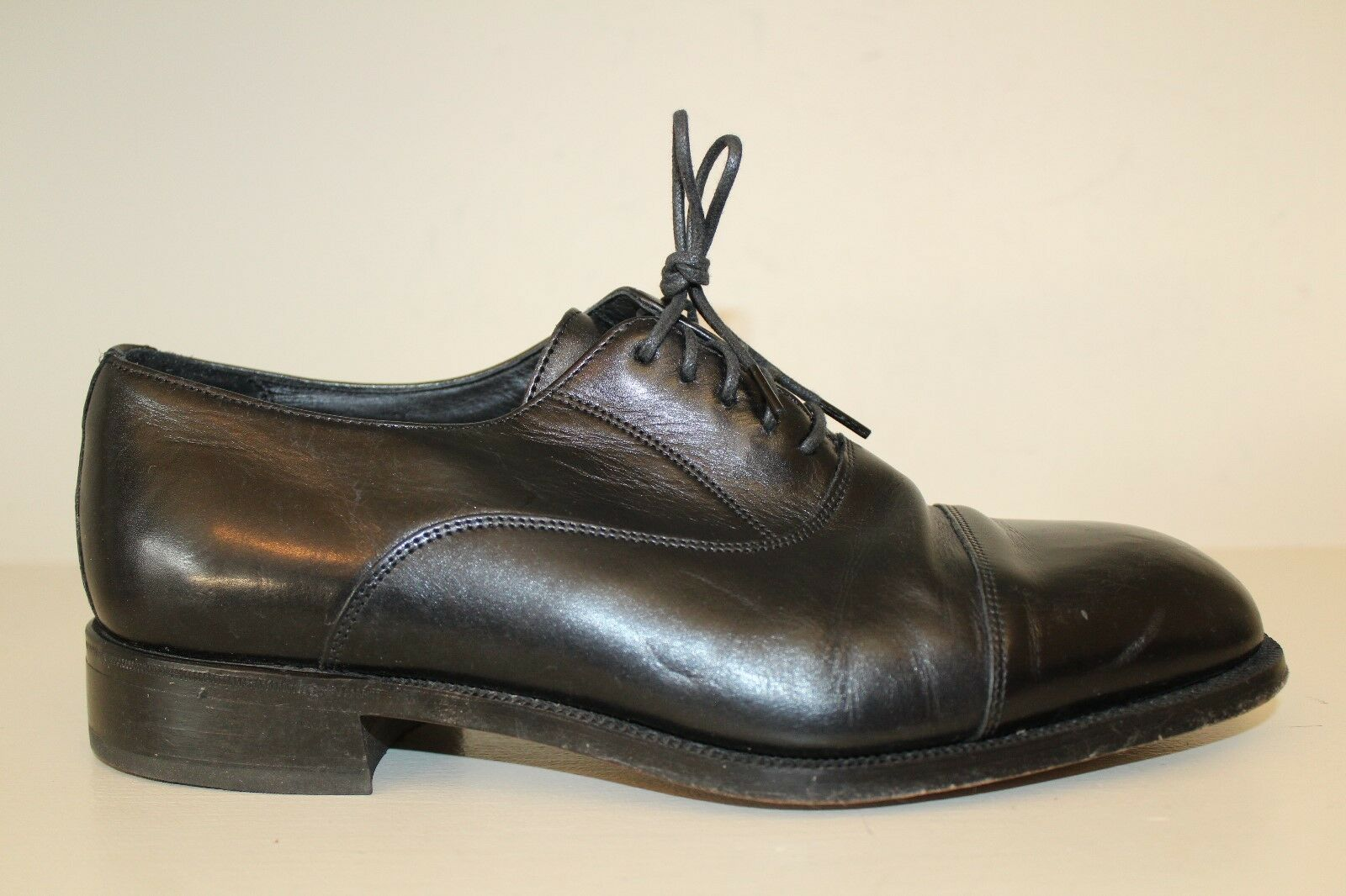 Florsheim Mens Oxford Dress shoes Sz 9 3E Black Leather Cap Toe Lace Up