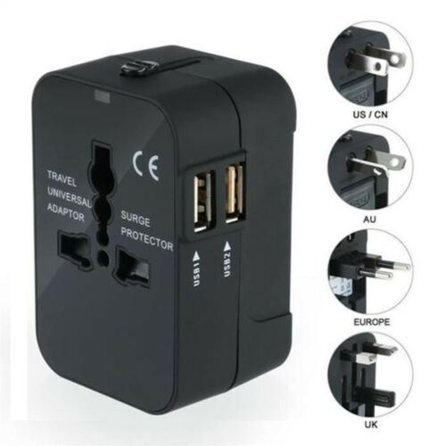 2 USB Port Universal World Travel AC Power Charger Adapter Electric Plug Conver