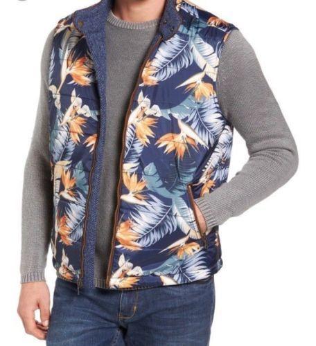 TOMMY BAHAMA Reversible Harris Tweed Blau Hawaiian print Vest XLarge XL 550