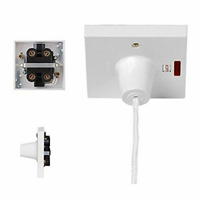 45A Shower Bathroom Pull Cord Ceiling Switch with Neon White