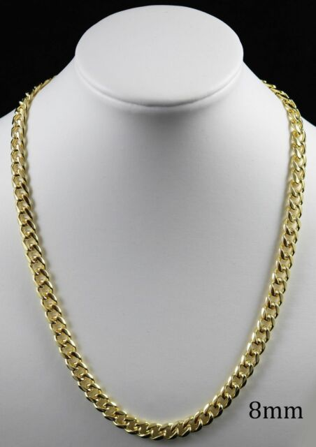 18K Gold Plated Curb Cuban Link Chain Necklace Bracelet ...
