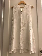 NICOLE MILLER ARTELIER WHITE EMBROIDERY APPLIQUÉ DRESS GOLD TRIM PETITE NEW  NWT