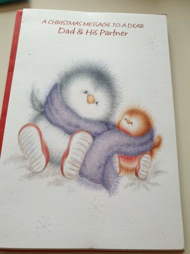 a christmas message to a dear dad /& his partner cute xmas card free post...