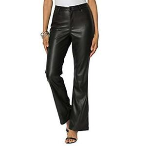 fdb78dd150abf New FAUX BLACK LEATHER SLACKS Jean Style Boot Cut Pants 1x 2x 22 ...