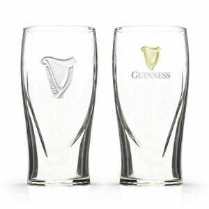 2 X Guinness Pint Glasses 20oz  Embossed Harp Brand New 100% Genuine CE Stamped