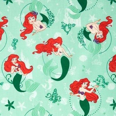 100/% Cotton Fabric Camelot Fabrics Disney The Little Mermaid Ariel Swimming