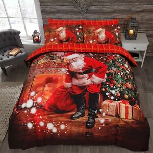 Father Christmas Santa Presents Reversible Quilt Duvet Cover Single Double King