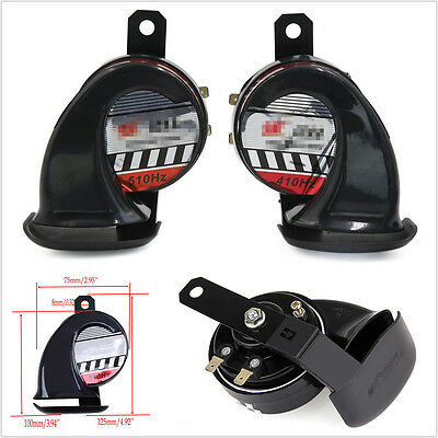 Black Metal Horn 2× Car Loud 510Hz 110dB Compact Snail Air Horn Waterproof 12V