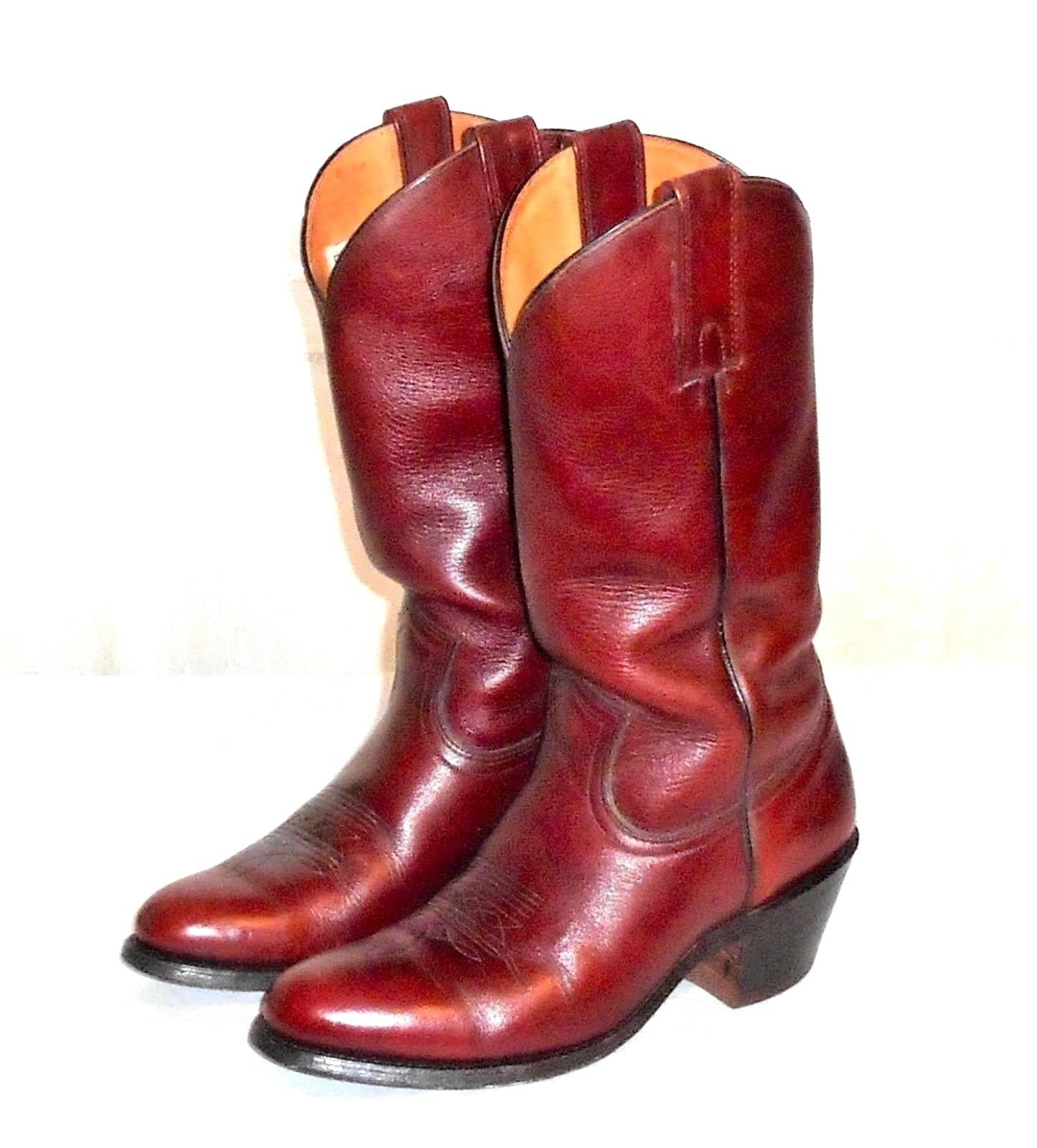 Frye 2356 Reddish Brown Leather Western Cowboy Boot Made in USA Men's 9 D