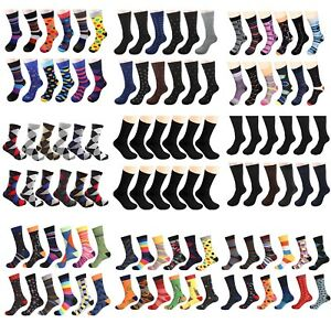 Gelante-Men-039-s-Dress-Socks-Funky-Fashion-Casual-Cotton-12-Pairs-size-10-13