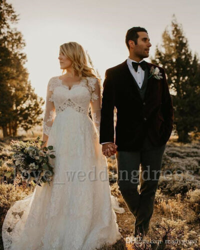 Modest Lace Beach Boho Wedding Dress Vintage Summer Country V Neck Bridal Gowns