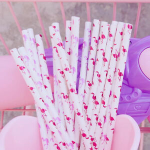 Lot-Pink-Flamingo-Paper-Drinking-Straws-Birthday-Wedding-Partyor-or-Baby-Shower