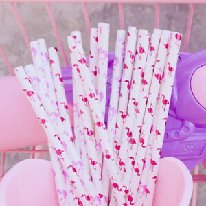 Lot-Pink-Flamingo-Paper-Drinking-Straws-Birthday-Wedding-Partyor-or-Baby-Shower