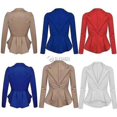 Womens Ladies Crop Frill Shift Slim Fit Fitted Peplum Blazer Jacket Coat UK 6-14