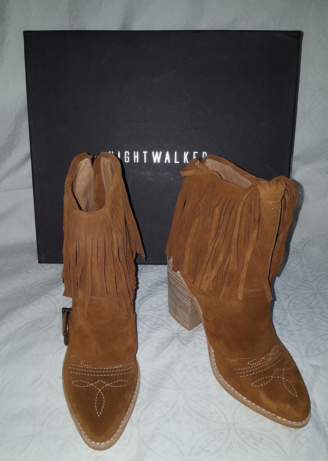 New Nightwalker Boots Brown Suede Fringe Western 37 Cowboy Ankle Bootie