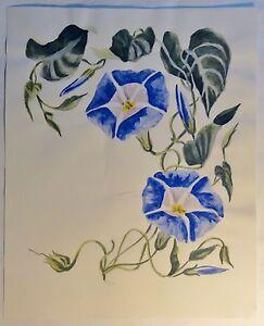 Tolles-Aquarell-von-C-E-Dammann-034-blaue-Wicken-034-monogrammiert