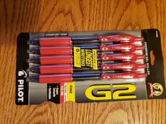 Set of 5 Pilot G2 Red Ink Pens Premium Gel Roller Refillable Fine Point 0.7mm