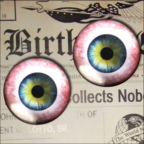 Blue Human Eye Glass Cabochon Halloween Fantasy Sculpture Craft Eyeball Set 30mm