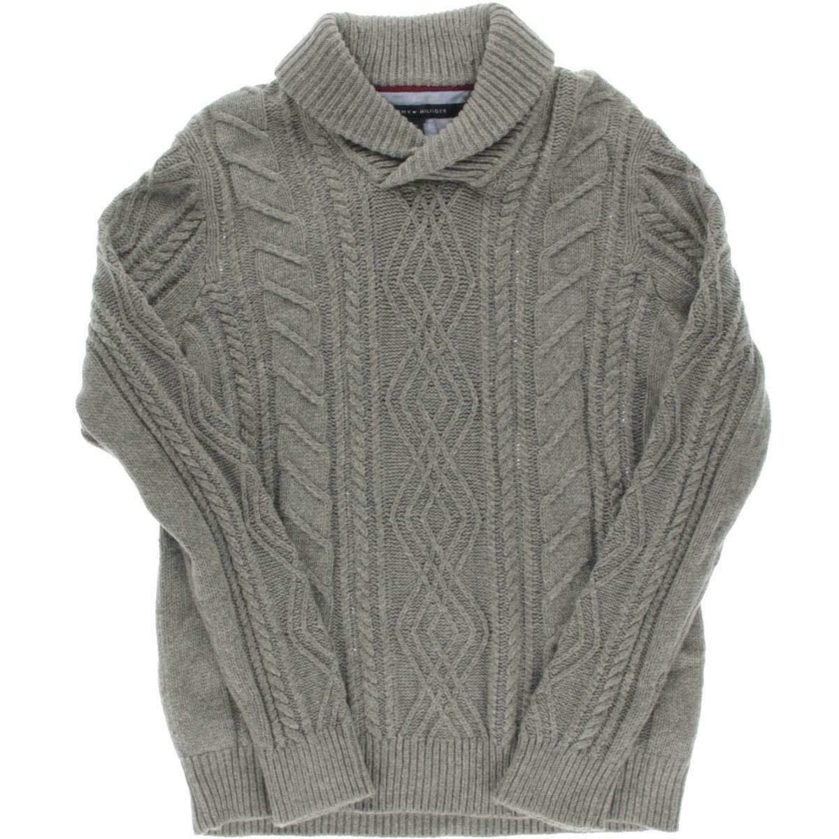 Tommy Hilfiger  Herren Cable Knit Wool Blend Pullover Sweater grau S,3839-4