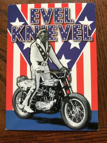 1999 EVEL KNIEVEL MOTORCYCLE DAREDEVIL FLAG POSTCARD UNUSED