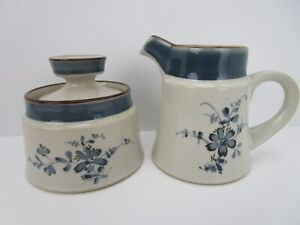Noritake Stoneware Pleasure Sugar Bowl and Creamer Pattern 8834 - Vintage