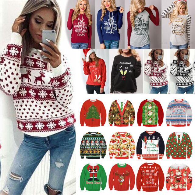 Women Xmas Long Sleeve Hoodie Sweatshirt Sweater Casual Hooded Coat Pullover Top