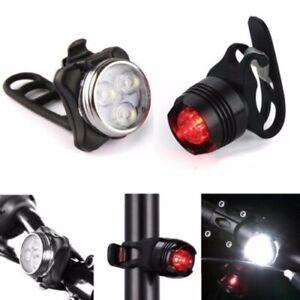 2-Wiederaufladbare-LED-Fahrradlampe-Fahrrad-Lampe-Set-Frontlicht-Ruecklicht-USB