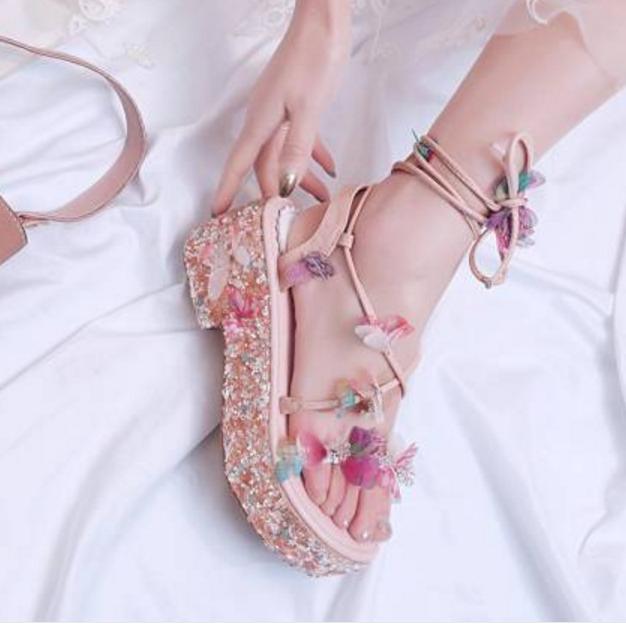 Mujeres Floral Bling Lentejuelas Fiesta Dulce Dulce Dulce Zapatos de plataforma con cordones cuña con tiras  venta al por mayor barato
