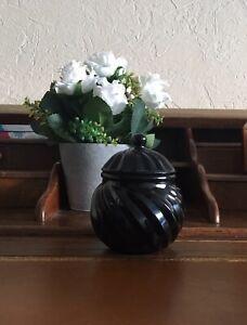 Retro Boite Bonbonniere Verre Opaline Noire Torsadée Napoleon Art Deco Vintage
