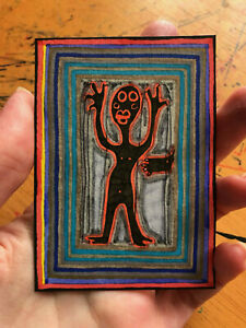 Original-ACEO-Drawing-by-Jay-Snelling-Outsider-Art-Brut-Man-figure-foot