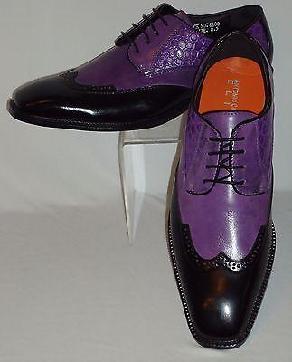 Mens Distressed Purple Black New Style Wingtip Dress Shoes Antonio Cerrelli 6680