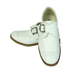 Ragazzi Sebastian Le Blanc Comunione e Matrimonio Kids Leather Shoes in bianco