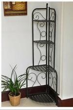 Plant Stand Folding Iron Metal Patio Corner 4 Shelves Garden Bakers Rack  Storage