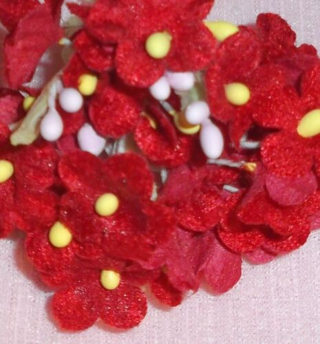 Red VINTAGE style Velvet FORGET ME NOT flowers//pick GINNY /& ALEXANDER doll size