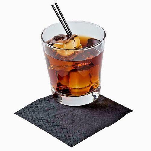 100020004000 Bar Restaurant Cafe Pub Black Cocktail Napkins 2 ply 24 cm
