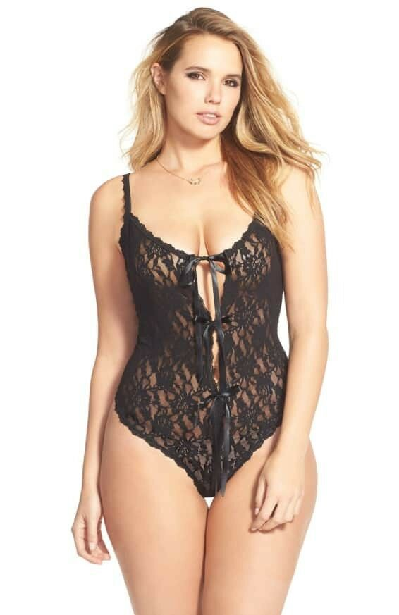 New HANKY PANKY After Midnight 488406X Signature Lace Open Gusset Teddy size 1X