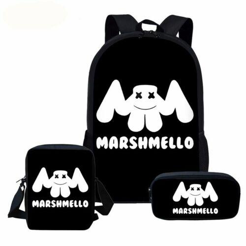 DJ Marshmello Backpack Travel Laptop Bag 3pcs Schoolbag Lunchbag Penbag Bookbag