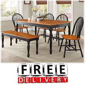 Superior Image Is Loading 6 Piece Dining Table Chairs Bench Room Furniture
