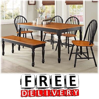 Sensational 6 Piece Dining Table Chairs Bench Room Furniture Set Wood Modern Contemporary Bralicious Painted Fabric Chair Ideas Braliciousco
