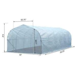 26'L x 10'W x 6.5'H Large Outdoor Heavy Duty Walk-In Greenhouse Steel Frame White Brand New wholesale Canada Preview