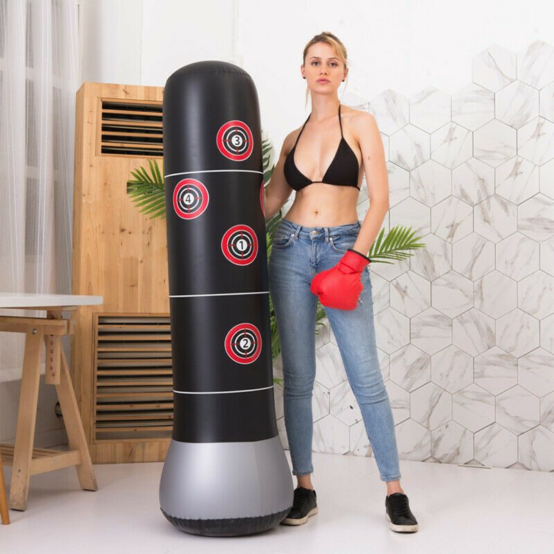 Pump Inflatable Punch Punching Bag Tower Boxing Workout Training Gym Exercise