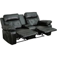 Reel Comfort Series 2-Seat Reclining Black Leather Theater Seating Unit