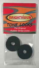 Four Black Rubber Guitar Strap Locks - Famous Classic Design & Great Reliability