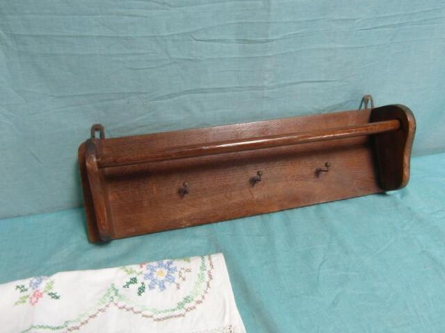 Rolltuchhalter Regal Antik Küchenregal Tuchhalter Eiche mit Tuch Tücher 37b3